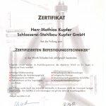 Zertifikat Befestigungstechnik
